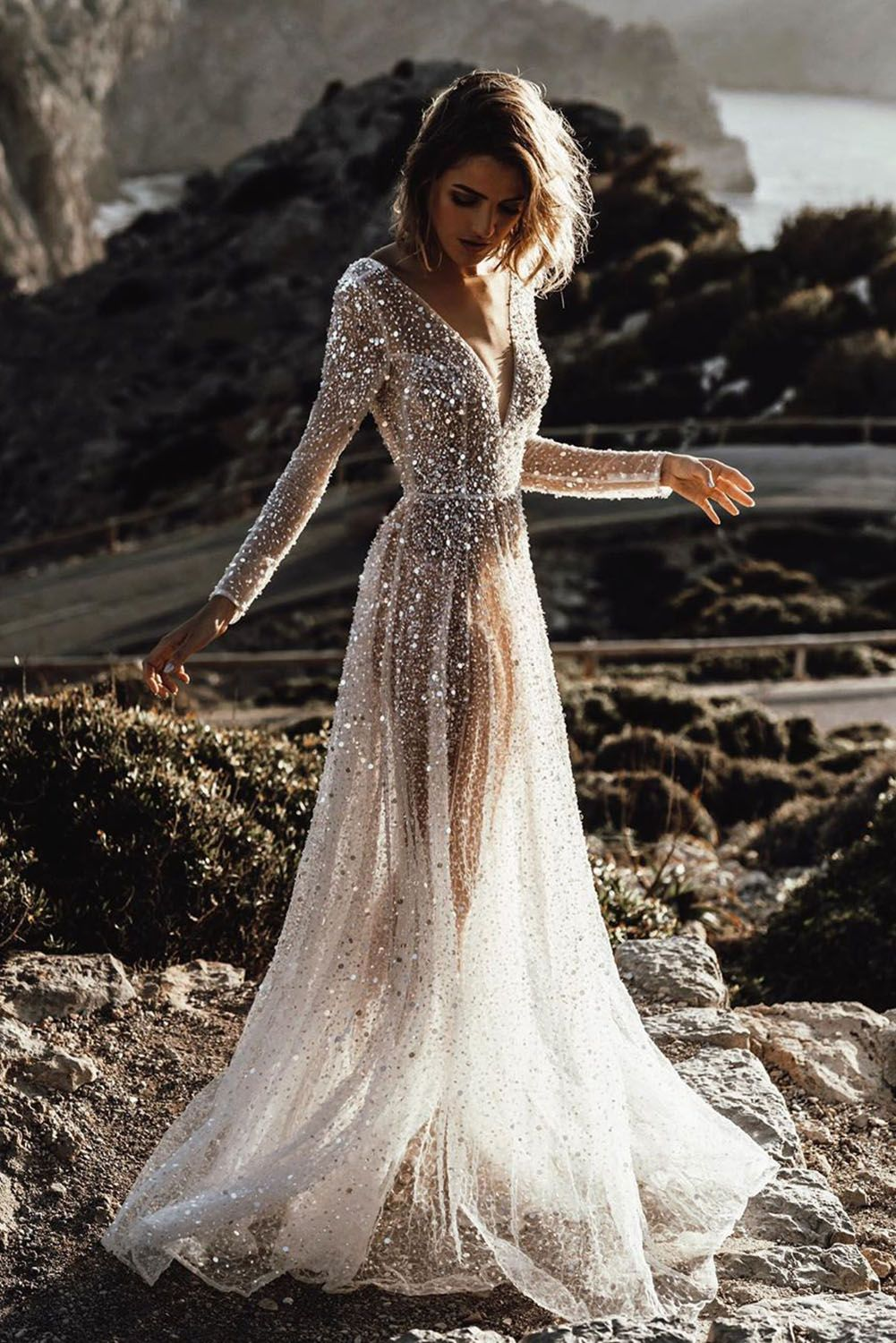 Deep V Neck Long Sleeve Sequin Tulle Wedding Long Dress Gowns Dresses Indian Dresses To Wear To A Wedding Gowns Dresses [ 1500 x 1001 Pixel ]