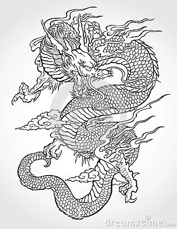 Chinese dragon vector stock photos images pictures 2 375 images graphicky stuff - Dragon japonais dessin ...