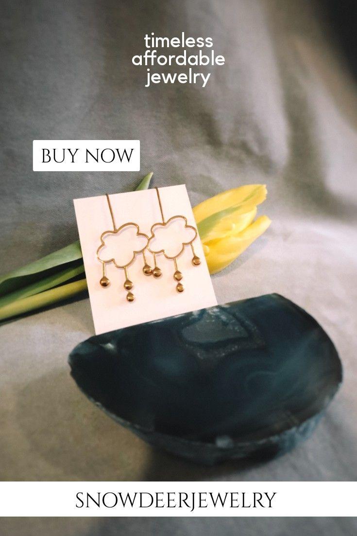 Photo of Rain Earrings in polished brass