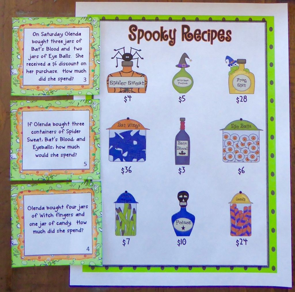 Halloween Two Step Word Problems With Images
