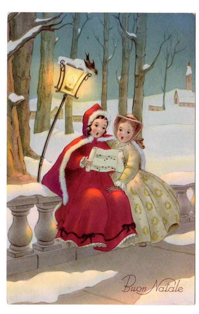 Immagini Cartoline Natale Vintage.Cartolina Da Collezione Buon Natale Epoca 1953 Piccola Bambine Ed Saemec Biglietti Di Natale Vintage Natale Retro Immagini Di Natale