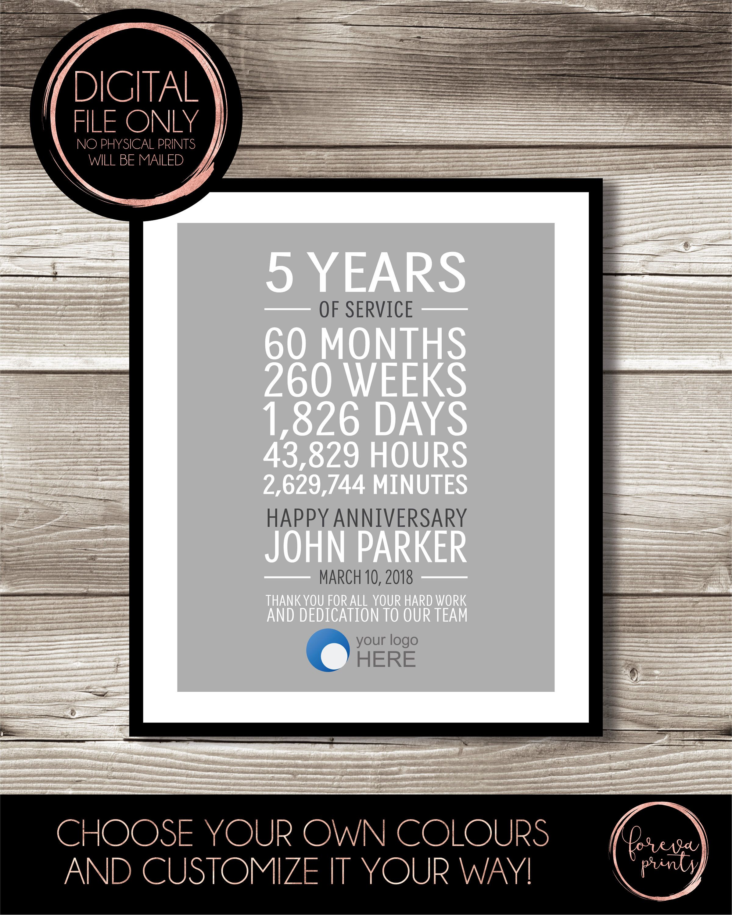 5 Year Work Anniversary Print Gift Idea Customizable Thank You Gift Years Of Service Retirement Employee Recognition Appreciation Work Anniversary Work Anniversary Gifts Employee Recognition