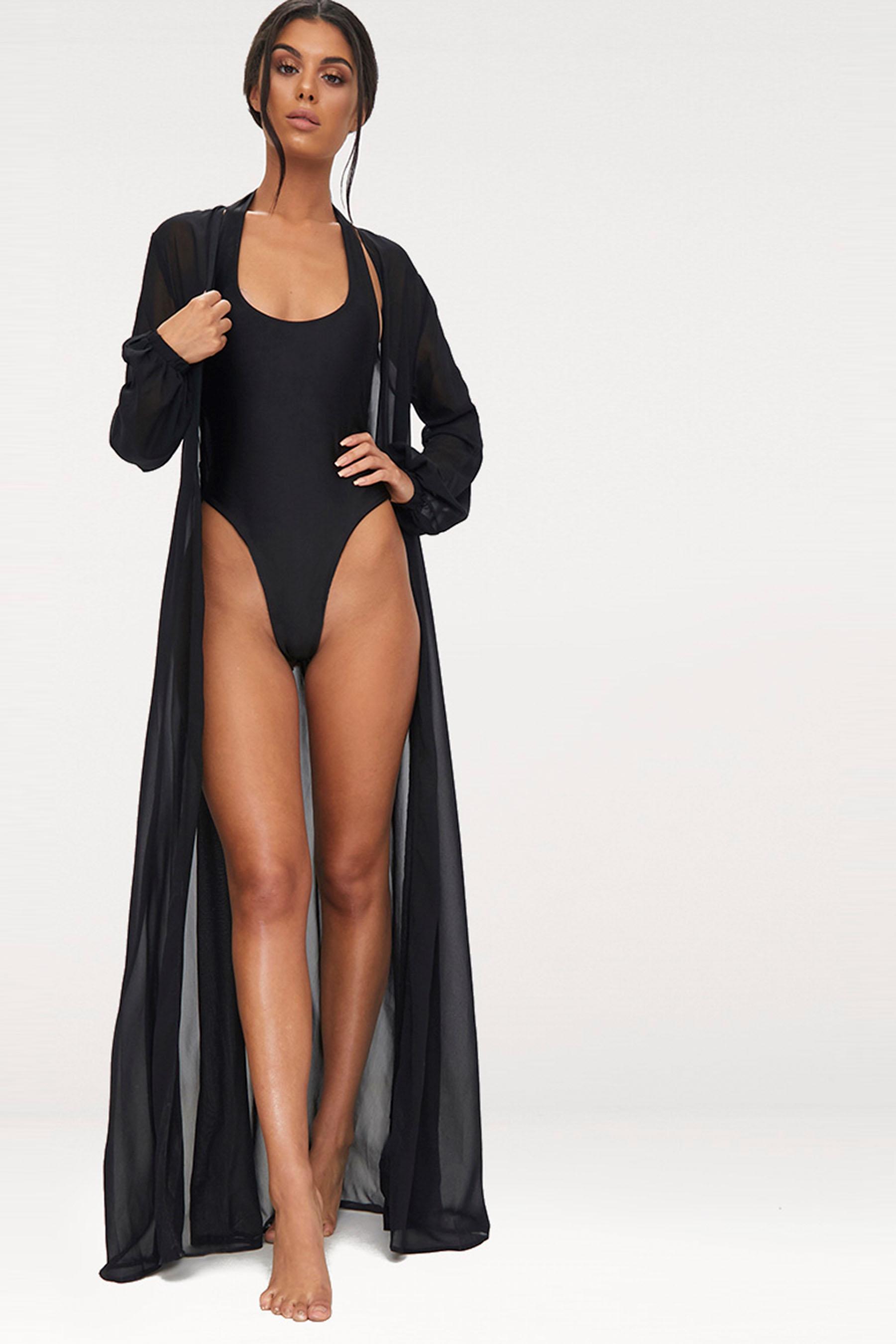 58796ac7e0 Womens PrettyLittleThing Alice Maxi Belted Beach Kimono - Black ...