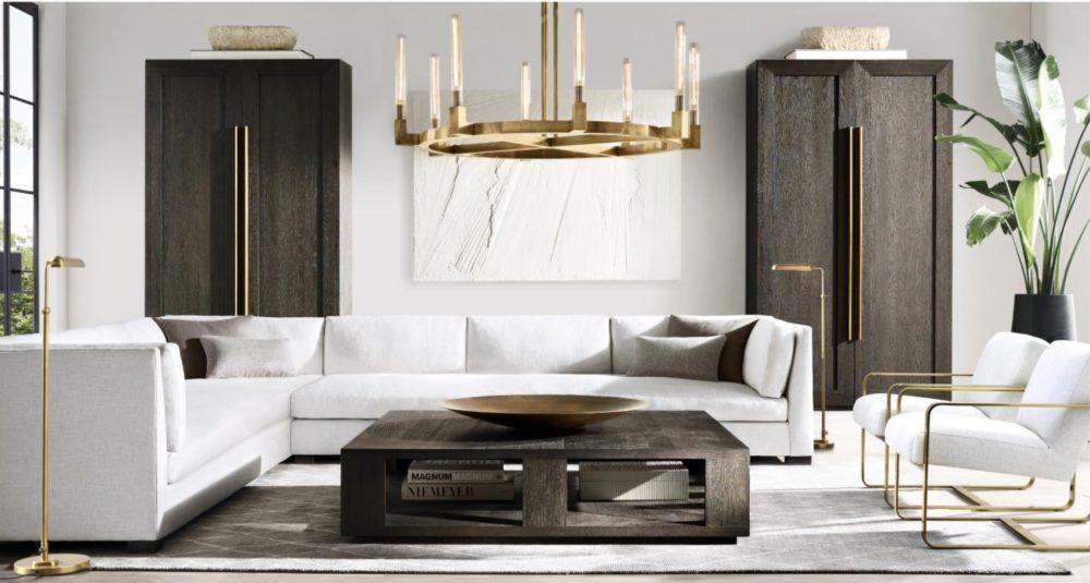 modern living room  restoration hardware living room