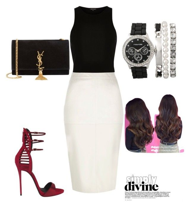 """simply divine"" by vickysalas on Polyvore featuring River Island, Giuseppe Zanotti and Yves Saint Laurent"