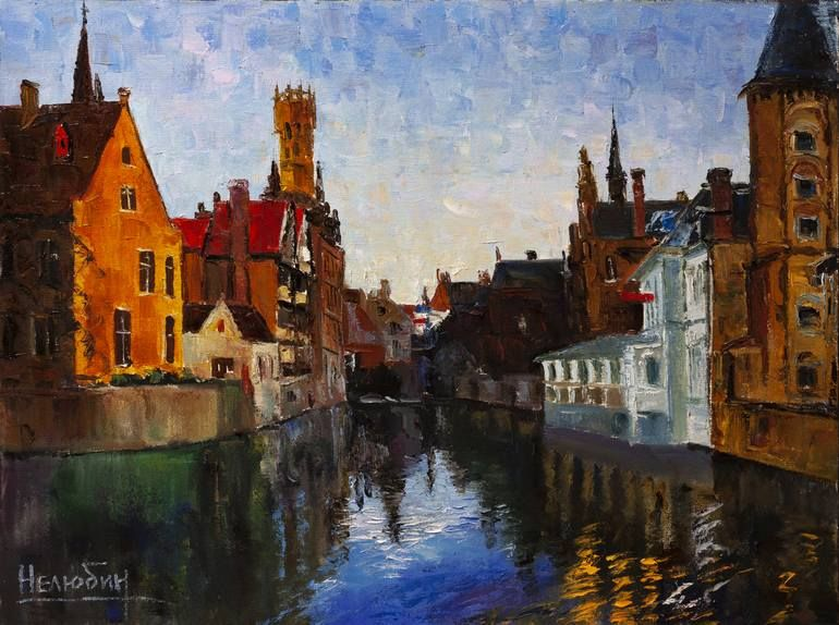 Original Cities Painting By Oleksandr Neliubin Fine Art Art On Canvas Old Town City Landscape In 2020 City Landscape Landscape Paintings Painting