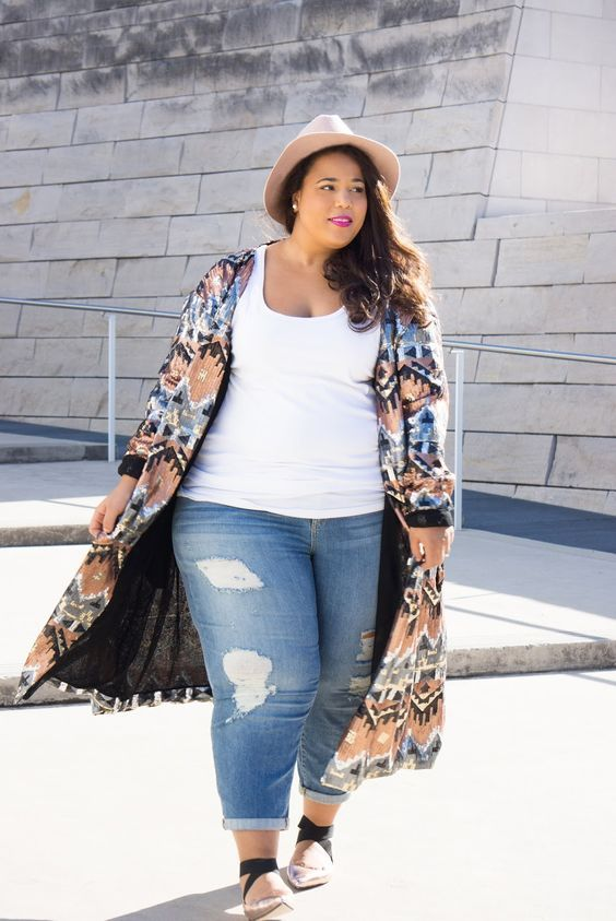 Photo of Plus Size Kimono Outfit With Jeans