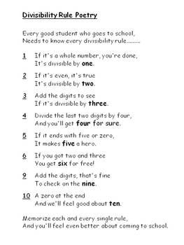 divisibility rule poetry 6th grade math math school divisibility rules sat math. Black Bedroom Furniture Sets. Home Design Ideas