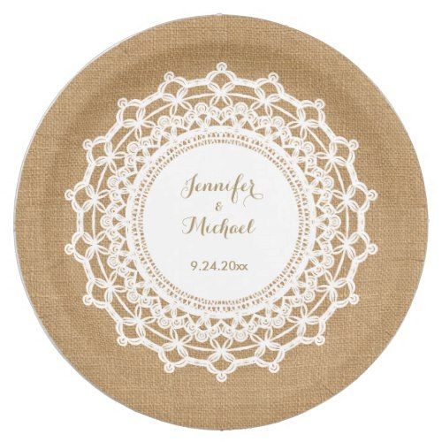 Sweet Rustic Burlap Look and White Lace Wedding Paper Plate  sc 1 st  Pinterest & Sweet Rustic Burlap Look and White Lace Wedding Paper Plate | Rustic ...