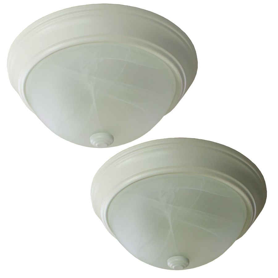 Project Source 2-Pack 13-in W White Standard Flush Mount Light ...