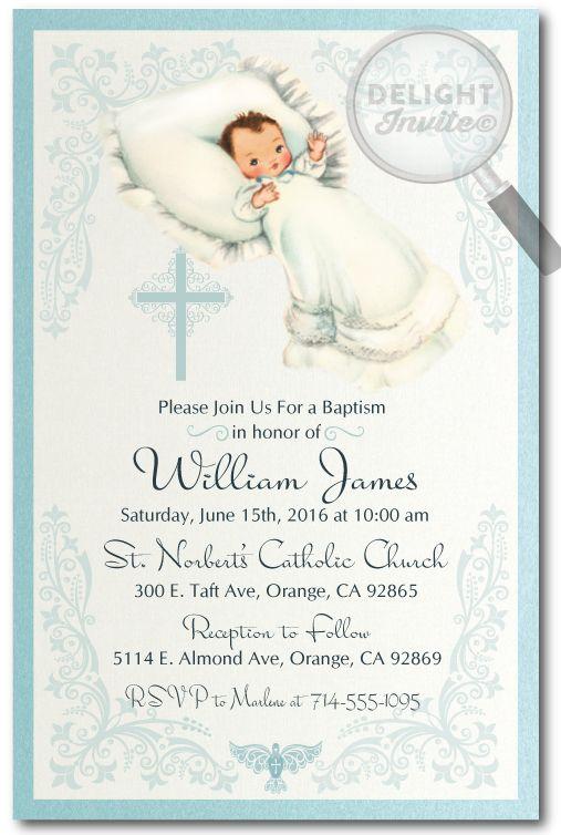 1950 S Vintage Baby Boy Baptism Invitations Di 809 Custom