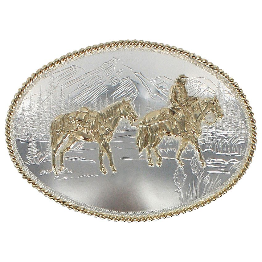 Montana Silversmiths Oval Pack Horse Belt Buckle