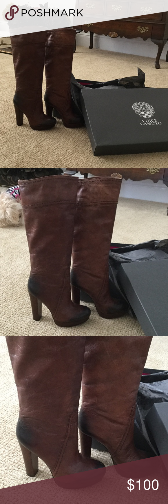 Gorgeous Vince Camuto Boots These boots are fabulous! They are a beautiful two toned mostly brown with black accents. Excellent condition. Worn once! Vince Camuto Shoes Heeled Boots
