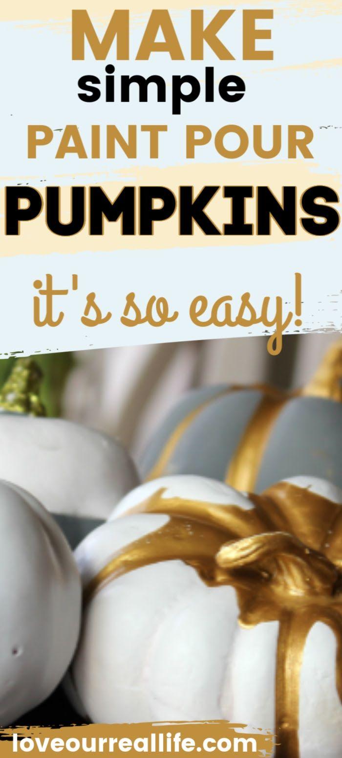 Paint Pour Pumpkins for Pretty Fall Decor