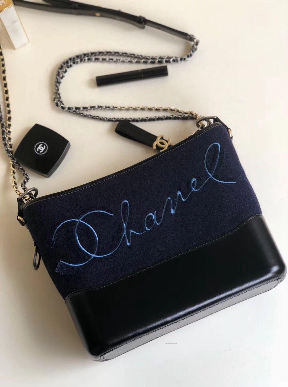 94db2d4d4a07 Chanel Embroidered Wool Calfskin Gabrielle Medium Hobo Bag A91824 Navy Blue  2018