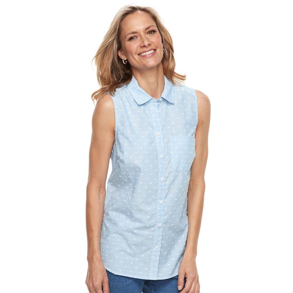 77b7feccd7e4a8 Croft   Barrow Women s Print Sleevless Button-Front Shirt