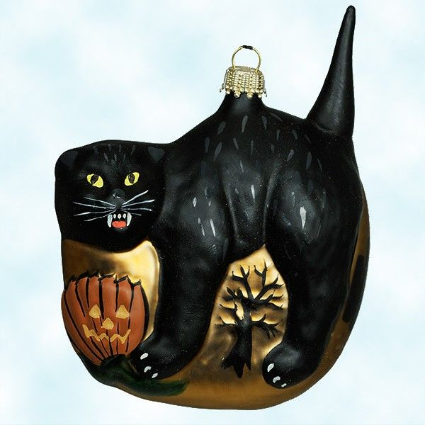 a scary vaillancourt folk art black cat christmas ornament perfect on the halloween tree - Black Cat Christmas Ornament