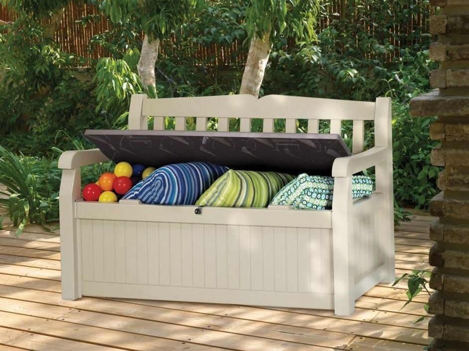 Resin 70 Gallon Deck Furniture Bench Outdoor Patio Seat Garden Pool Storage  Box #Keter