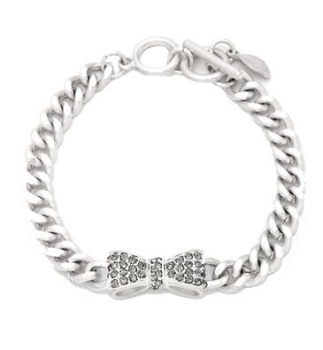 Veronica Crystal Bow Bracelet in Silver from P.S. I Love You More. Shop online at: psiloveyoumore.storenvy.com