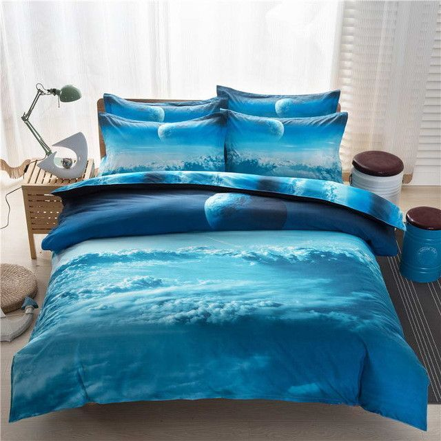 3d Galaxy Bedding Sets Twin/Queen Size Universe Outer Space Themed  Bedspread Bed Linen Bed