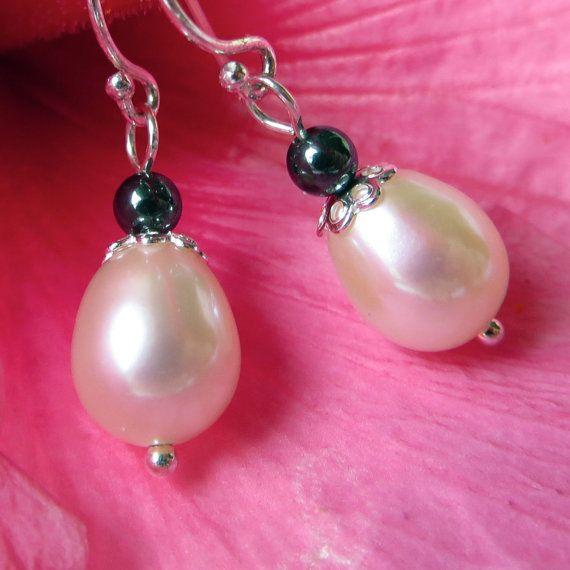 White Freshwater Pearl and Hematite Dangle Earrings by kauainanidesigns, $18.00