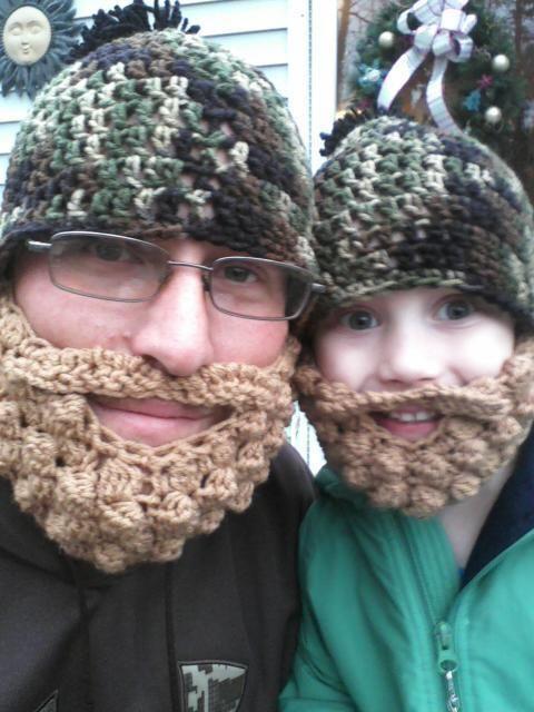 Crochet Beanie With Free Beard Face Warmer Men Women Kids