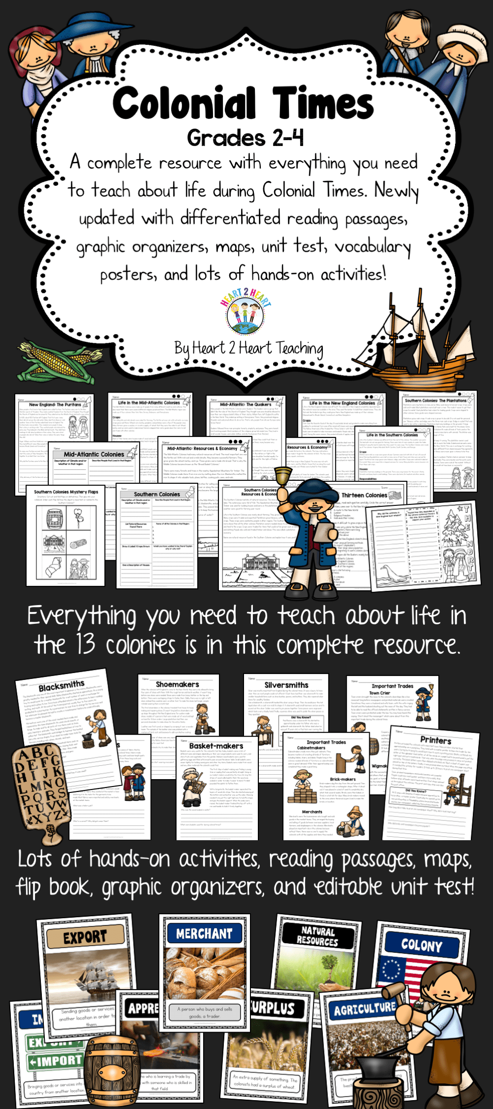 Take A Step Back In Time To The Colonial Times 3rd Grade Social Studies Teaching History Homeschool Social Studies [ 2249 x 1000 Pixel ]