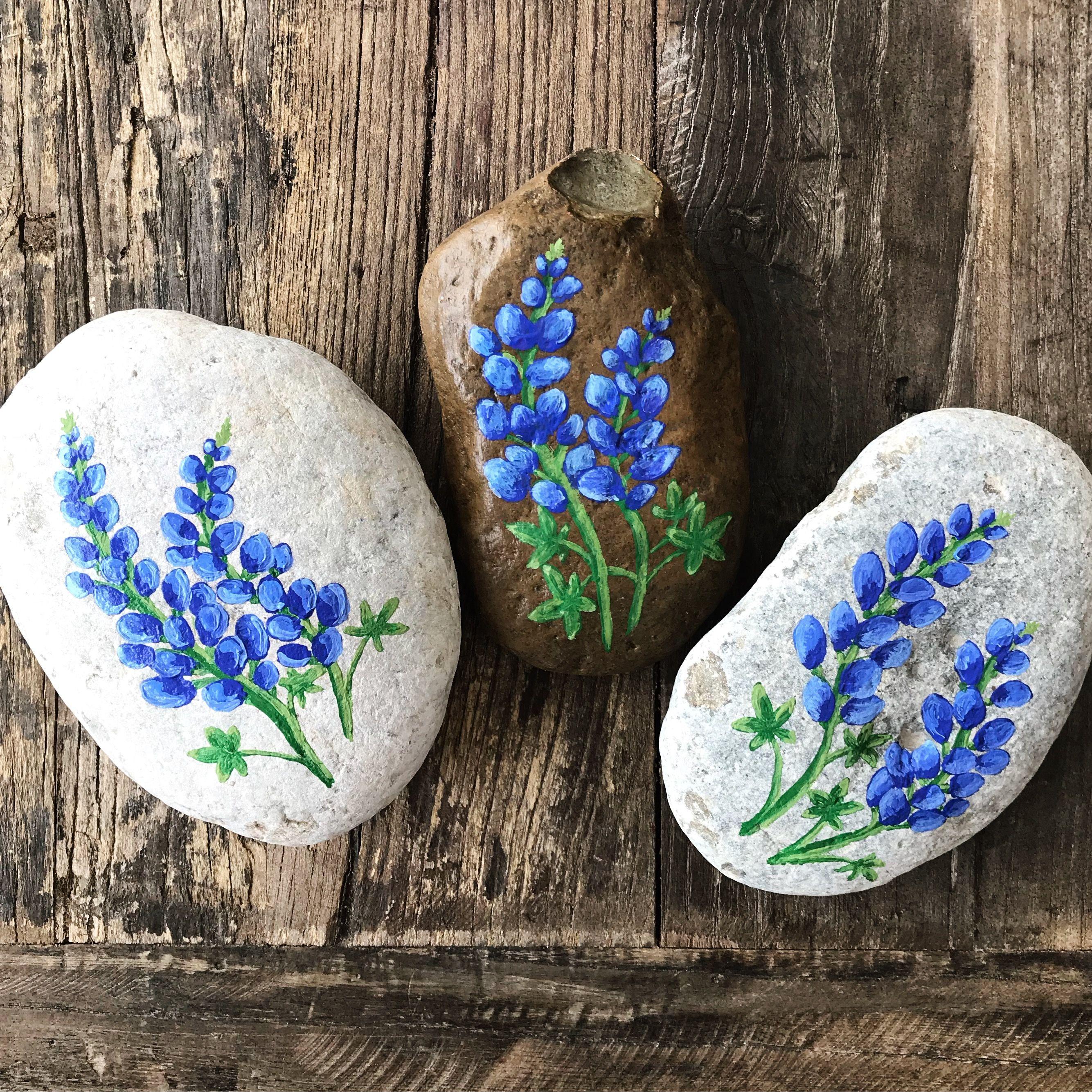 Bluebonnet Painted Rocks. Spring flowers. Kindness rocks project ...