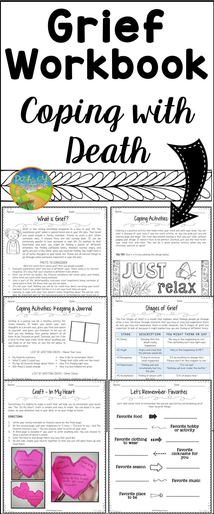 Worksheets Grief Worksheet grief workbook for coping with death counseling social work great resource counselors therapists workers and psychologists