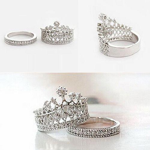 Damesmode Koningin Crown Patroon Ring Set Rhinestone tweedelige Ringen Sieraden