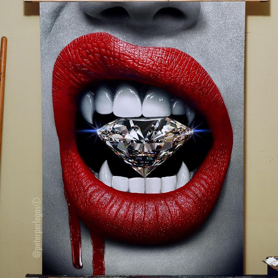Image result for diamond mouth tongue paintings