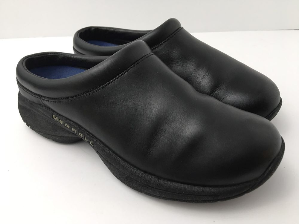 Leather Slip On Shoes Clogs Black