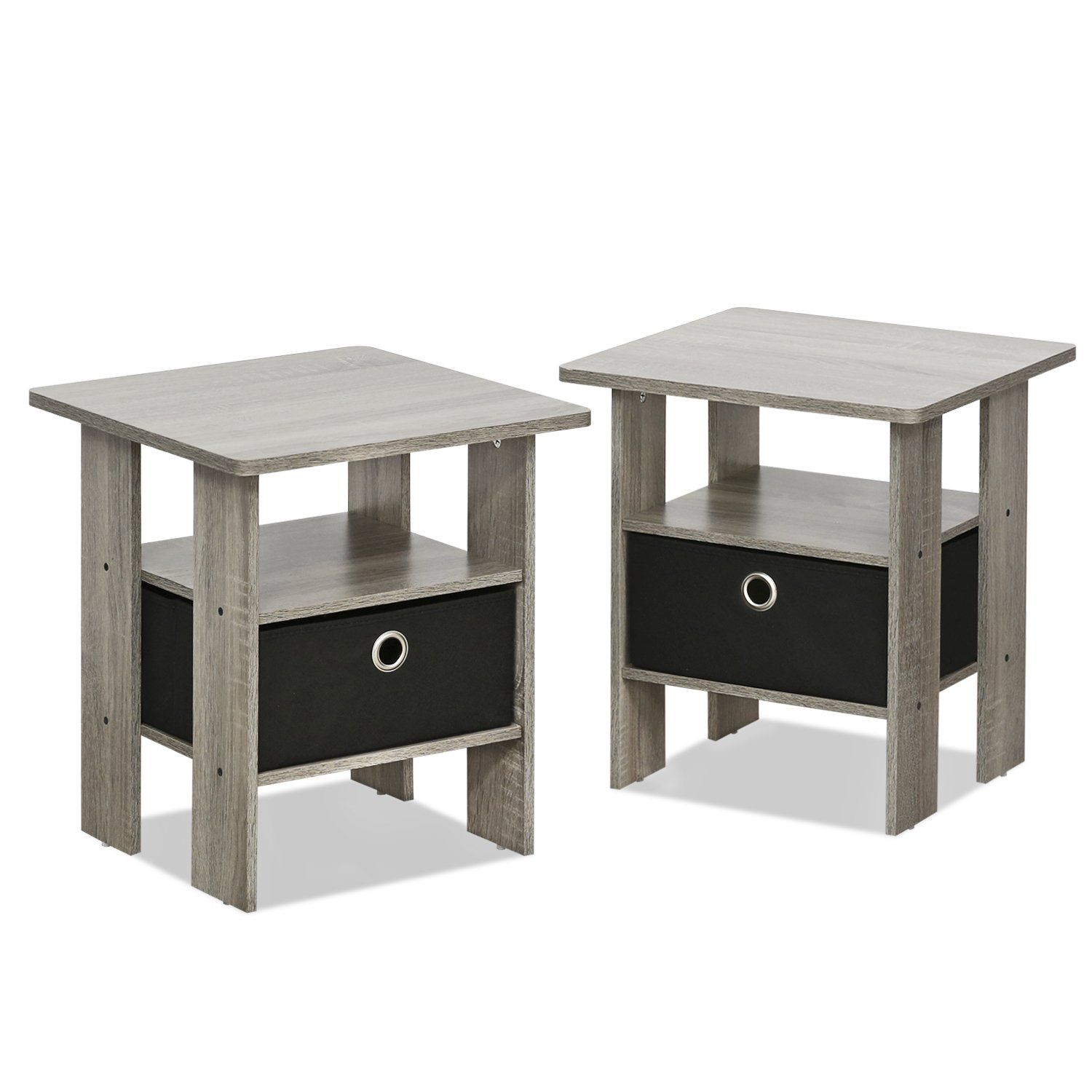 Amazon.com: Furinno 11157Gyw/Bk Night Stand, 1 End Table ...