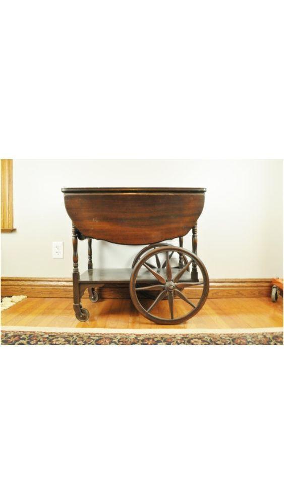 ffeb775cc477 Antique Wooden Drop Leaf Wagon Wheel Serving Tea Coffee Trolley Roll ...