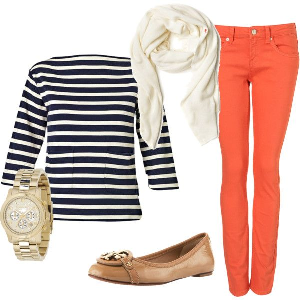 Navy and white stripes with bright jeans - great casual look.