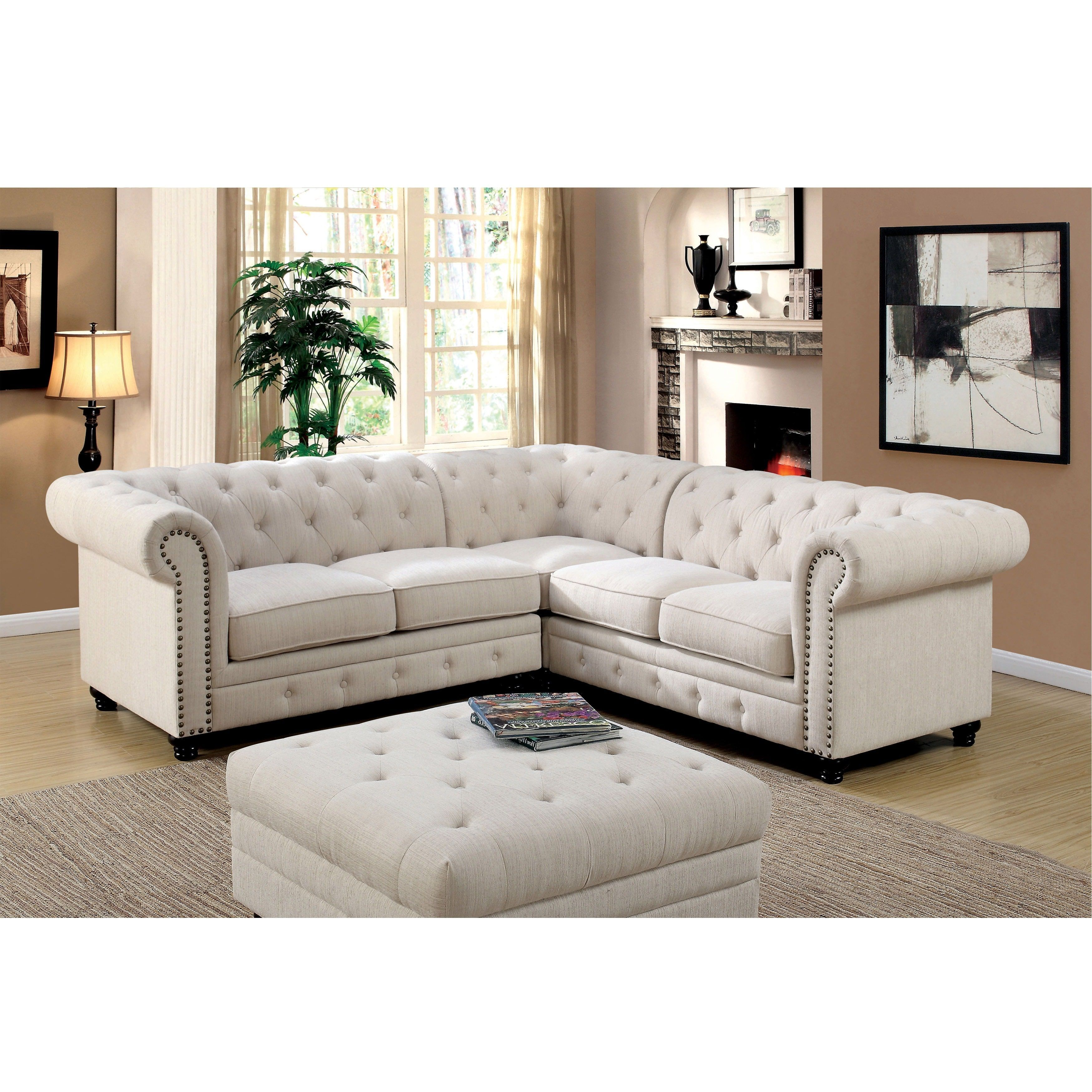 Furniture Of America Sylvana Traditional Tufted Linen Like Sectional Ivory Beige Off White Fabric