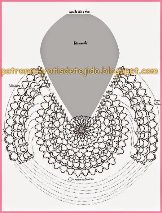 Blusa Crochet con Manga Campana / Patrones | Blusas, Dos agujas y ...