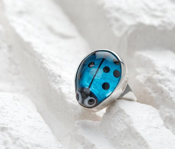 Ladybug Ring Sapphire Blue Lampwork Glass on Sterling by evihan