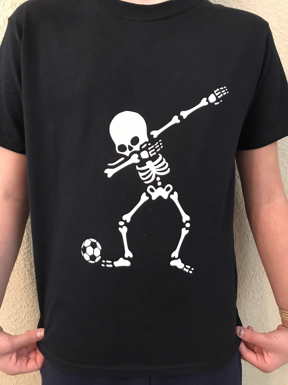 ade89db2 Skeleton dabbing shirt with soccer ball, dab shirt, soccer team shirt, Halloween  shirt, black t shirt by EdmistonCustomCrafts on Etsy