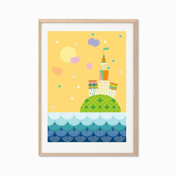 Castle Island Poster : Modern Illustration Retro Art Wall Decor ...