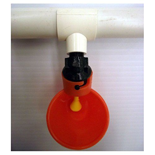 AUTOMATIC WATERER DRINKER CUP & PVC FITTING BUILT IN FLOAT CHICKEN COOP POULTRY...