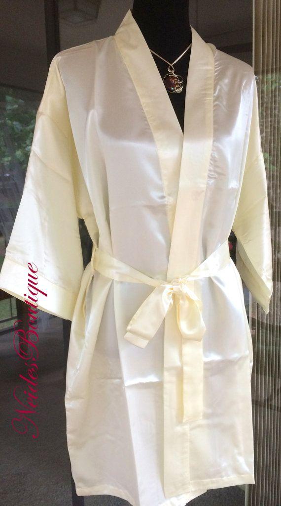 Ivory Silk kimono, Bridal kimono, soft fabric, silky kimono, bridal robe, lingerie, getting ready robe, wedding gift