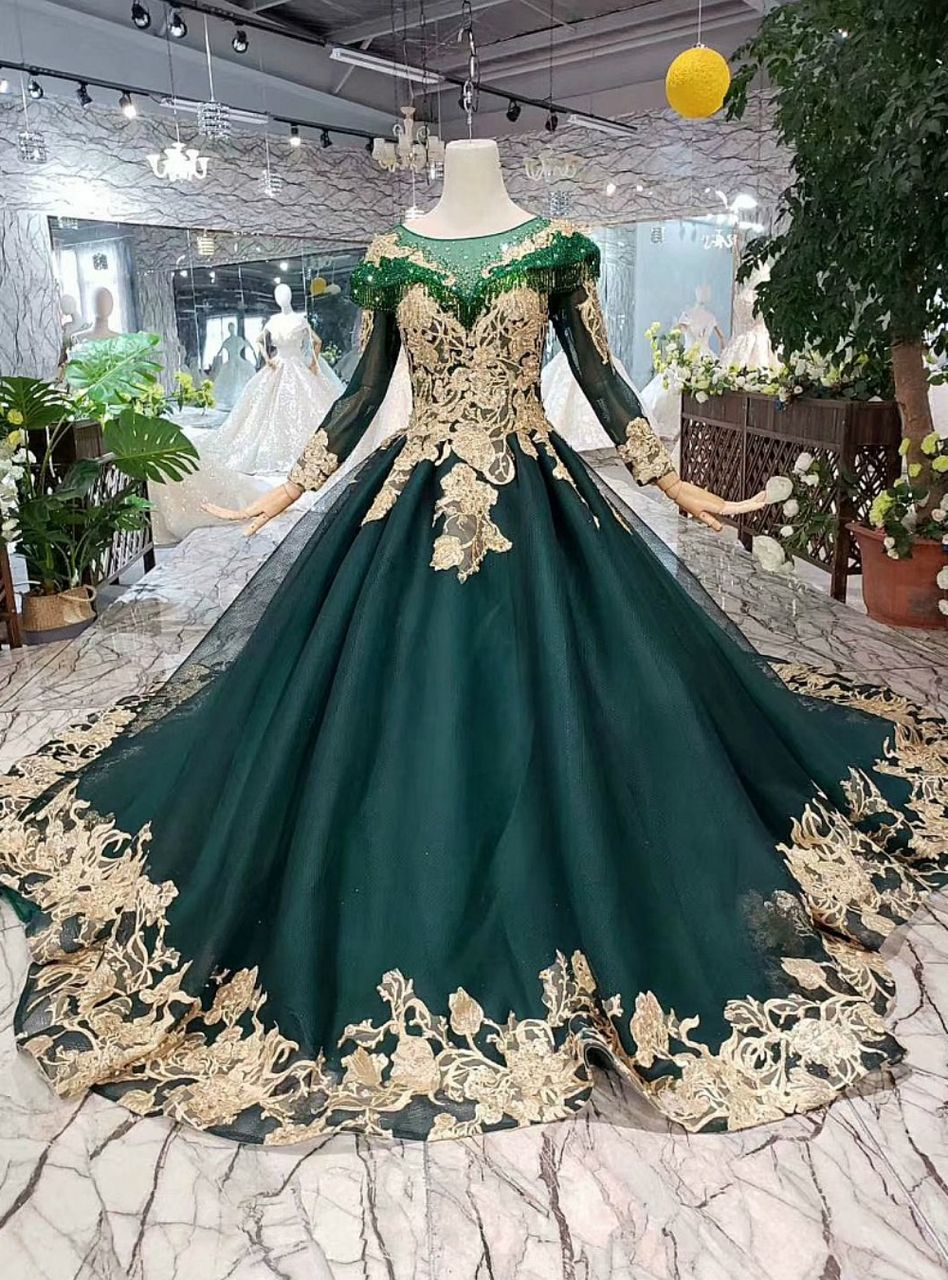 Dark green tulle long sleeve gold lace appliques beading