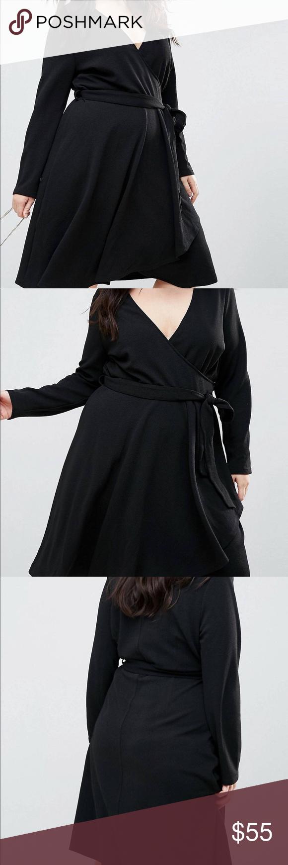Asos curve black wrap dress new never worn nwt my posh picks
