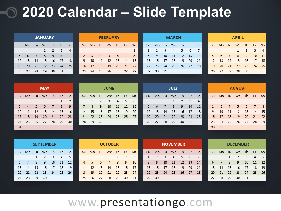 2020 Calendar For Powerpoint And Google Slides Presentationgo Com Calendar Template Calendar Powerpoint