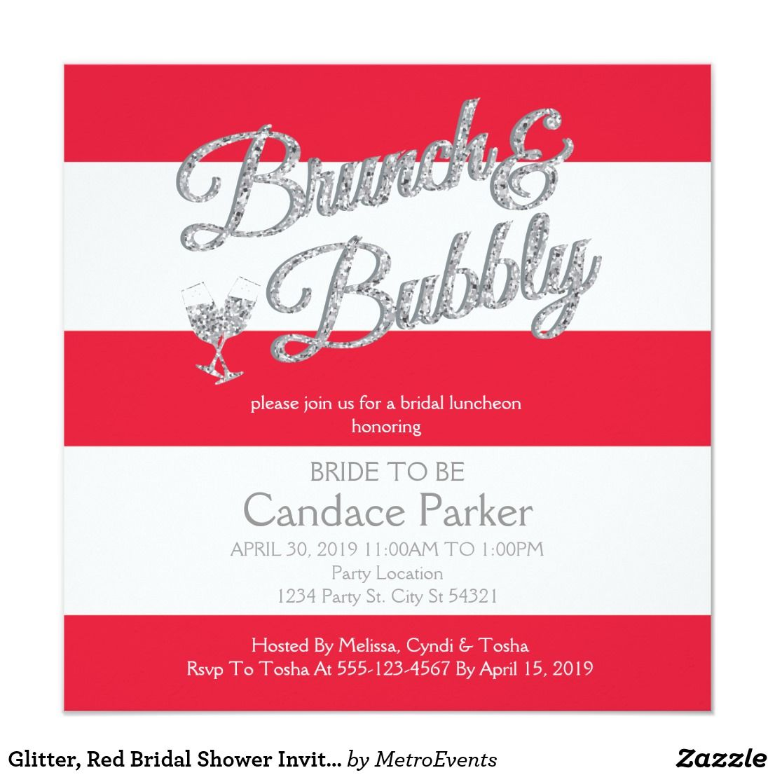 Glitter, Red Bridal Shower Invitations | { Wedding Invitations ...