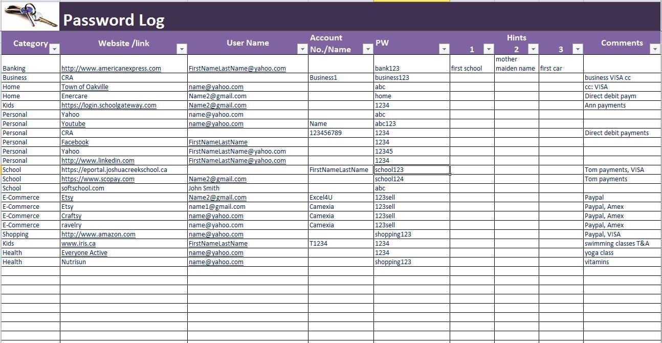 Password Log Excel And Pdf Template Password Tracker Spreadsheet