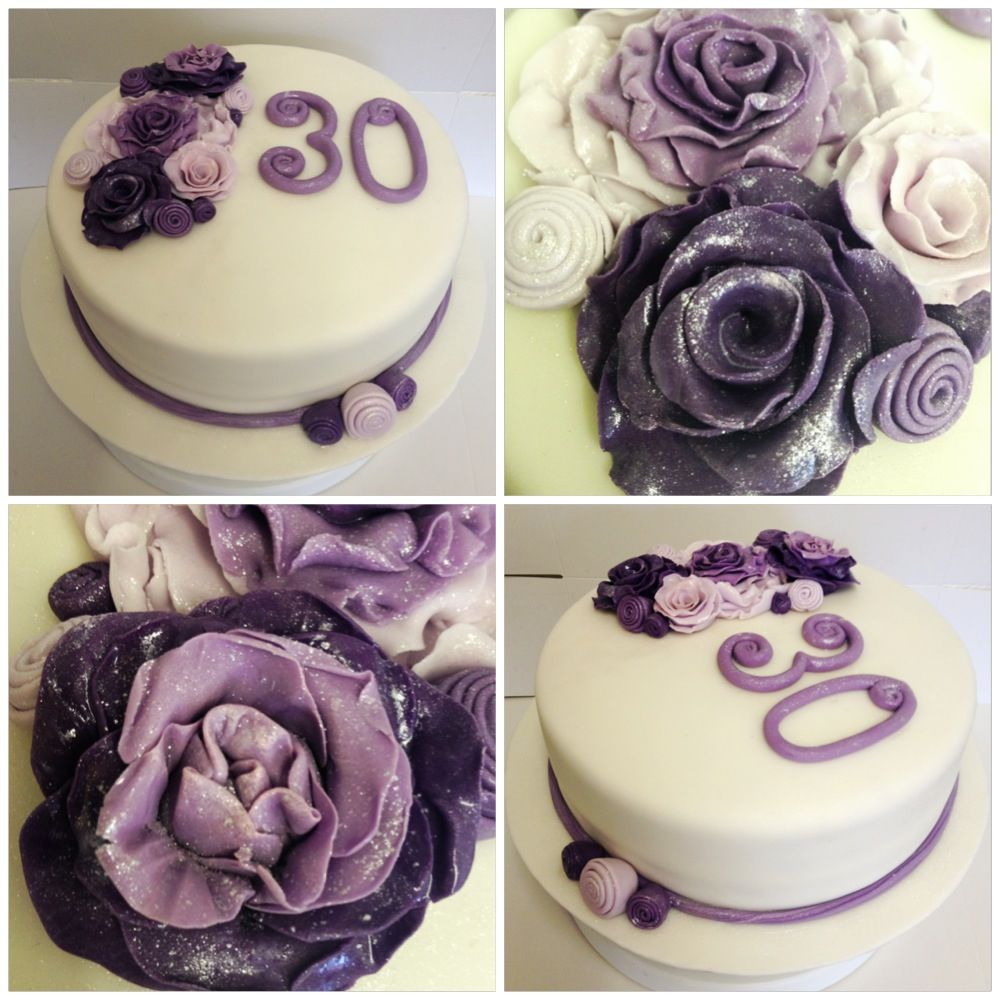 Purple Flower Theme 30th Birthday Cake With Images Cake