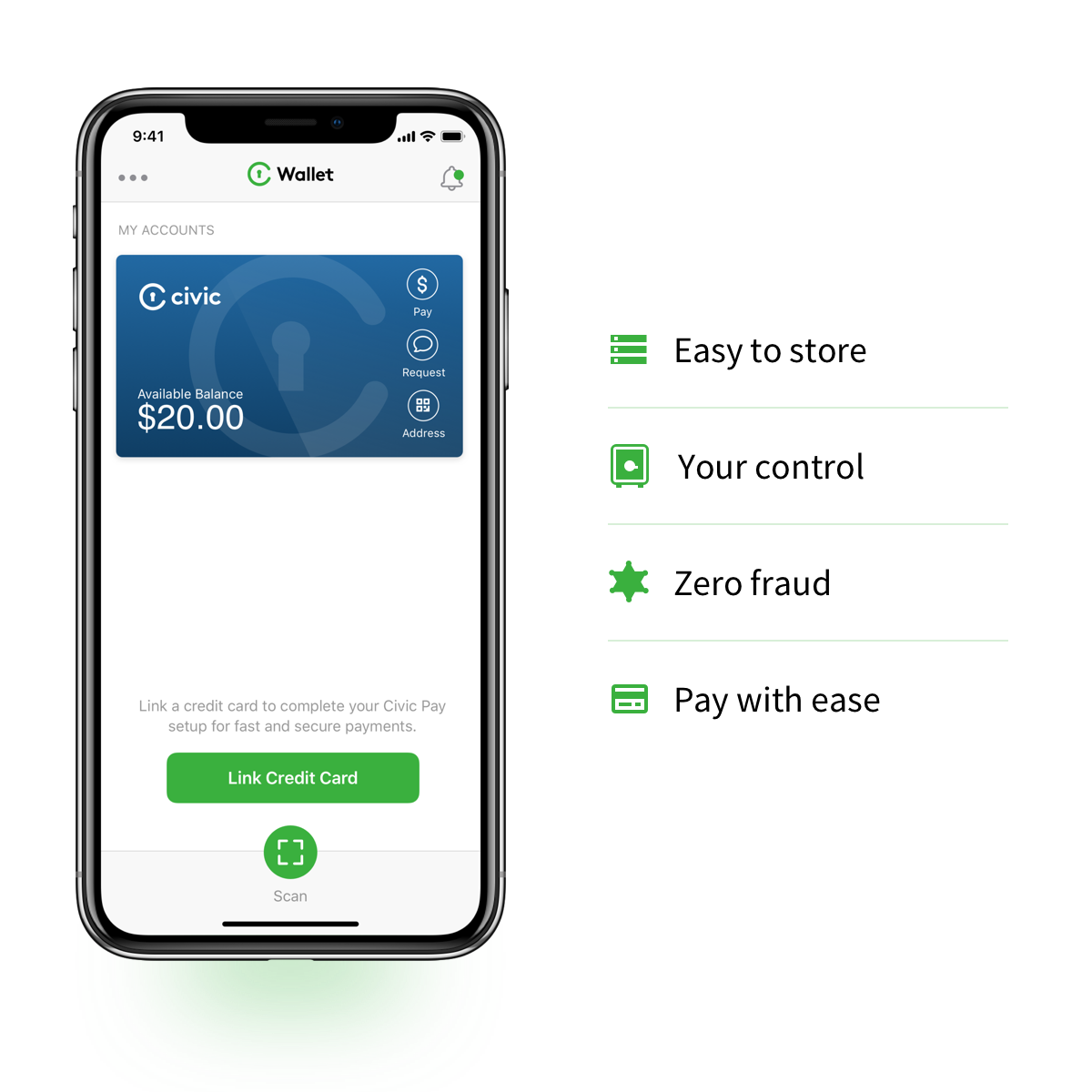 Civic Wallet Your Identity Your Money Your Choice Crypto Money Wallet App Bitcoin Transaction
