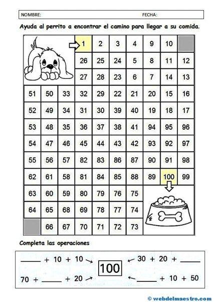 Números del 1 al 100   Grundschulen und Mathe